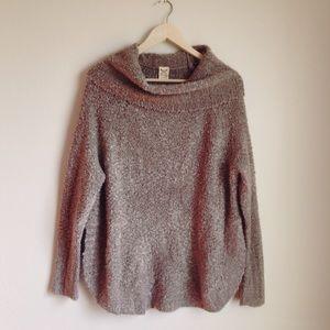 Cowl neck split side sweater